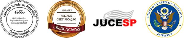 Certificação ATA, Certificação ABRATES, Selo JUCESP e Selo Embaixada Norte Americana