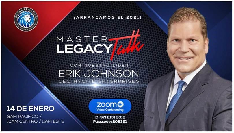 Evento Master Legacy Talk banner
